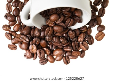 inverted coffe cup with beans, can be used as a background