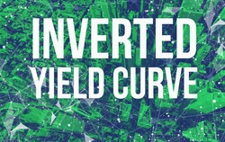 Inverted Yield Curve theme with abstract network patterns and Manhattan NY skyscrapers