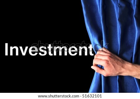 invest in your future concept with blue curtain hand and black background - stock photo