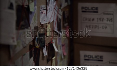 Investigation board with pinned photos, newspapers and notes, solving crime