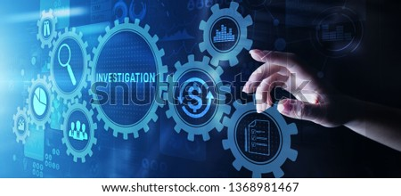 Investigation inspection audit business concept on virtual screen. ストックフォト ©