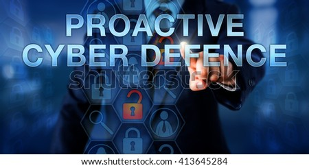 Investigator is touching PROACTIVE CYBER DEFENSE on a virtual interactive screen. Information technology concept and cyber security metaphor for pre-emptive actions opposing a computer attack. Foto stock ©
