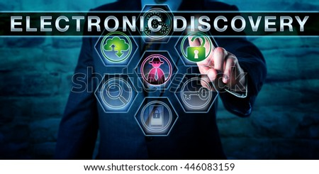 Investigator pushing ELECTRONIC DISCOVERY on a screen. A black hat hacker icon is lighting up in purple. A green open padlock signifies authorized access to data evidence. Digital forensics concept.