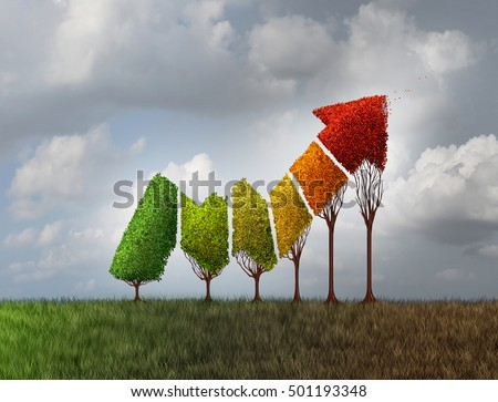 Investing during autumn season as a group of trees shaped as a financial profit arrow changing leaf color as a finance symbol of aging investment losing momentum with 3D illustration elements.