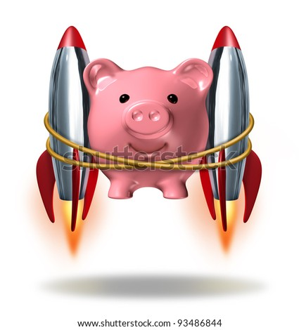 Investing Success and new wealth management solutions to grow your finances fast  as a pink piggy bank with rocket engines blasting off as a successful financial strategy as strong growth potential.