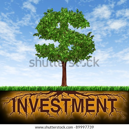 Investment and financial growth symbol with a tree in the shape of a dollar sign and the roots in the shape of the word investment for business success and strategic planning as savings and investing.