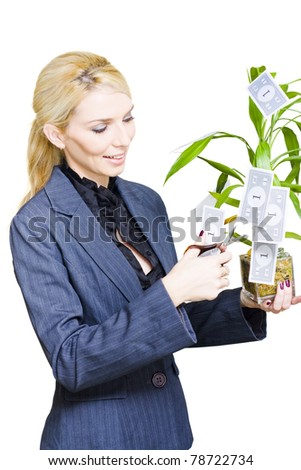 Investment And Financial Planning Concept Sees A Finance Planner Or Business Woman Pruning Savings From Her Money Tree During Strong Economy Growth, On White