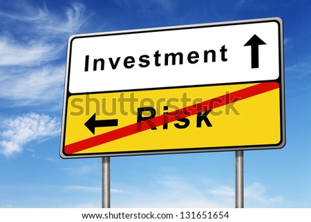 investment and risk road sign concept image on blue sky background