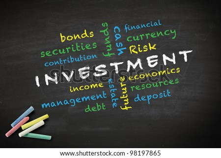 investment concept and other related words, written with chalk on a blackboard.