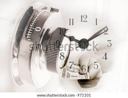 Investment Concept: Saving, Time Deposit, Insurance etc. Picture of a safe lock with clock and a hand paying a 20dollar bill