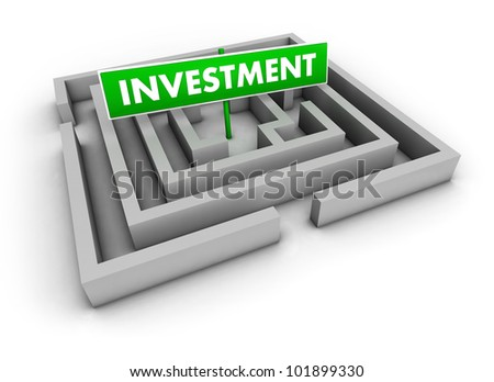 Investment concept with labyrinth and green goal sign on white background.