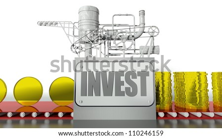 Investment concept with money and machine