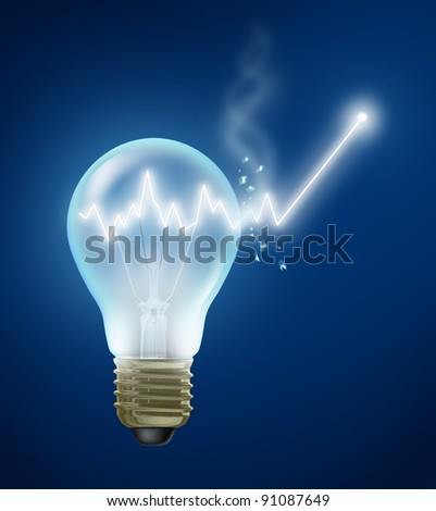 Investment Ideas and stock market concept with a shining light bulb filament as a glowing stock graph chart bursting out of the glass showing new growth and future success in business and finance.