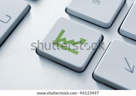 Investment key on the modern keyboard. Toned Image.