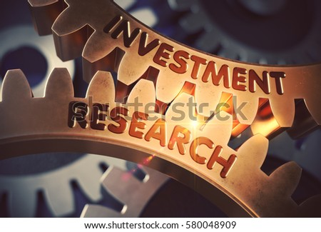 Investment Research - Illustration with Lens Flare. Investment Research on Golden Cogwheels. 3D Rendering.