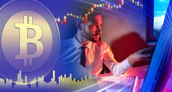 Investments in cryptocurrencies. Man invests in bitcoins. Investor next to bitcoin logo. Concept - rise in prices for bitcoin. Increase in value of cryptocurrencies. Investor next to computer.