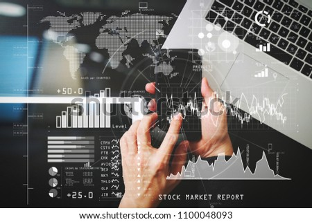 Investor analyzing stock market report and financial dashboard with business intelligence (BI), with key performance indicators (KPI).Businessman hand working with VR.