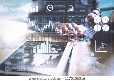 Investor analyzing stock market report and financial dashboard with business intelligence (BI), with key performance indicators (KPI).Businessman hand working concept. Documents finance graphic chart.