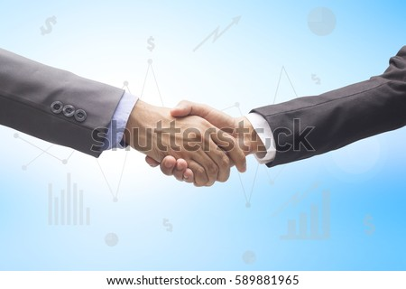 investor businessman handshake for accept or approve financial cooperative concept