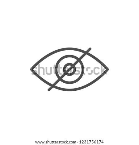 Invisibility line icon isolated on white