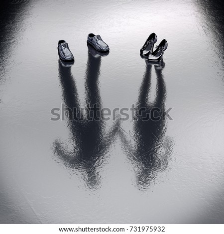 Invisible Couple standing on the wet floor. 3d Rendering. Create your own reality, DIY. Healthy lifestyle Job Office concept. Missing Lost, sacrifice, victim persons.