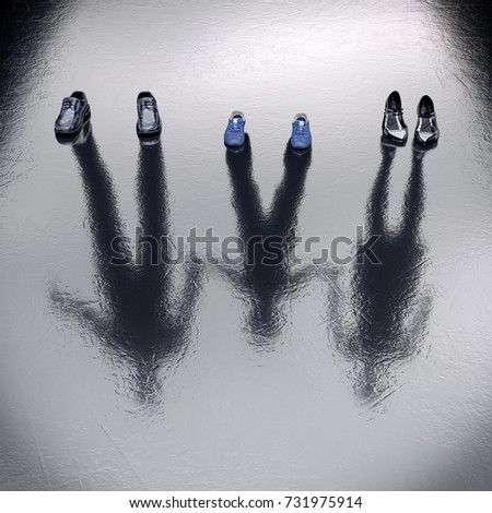 Invisible Family standing on the wet floor. 3d Rendering. Create your own reality, DIY. Healthy lifestyle Job Office concept. Missing Lost, sacrifice, victim persons.