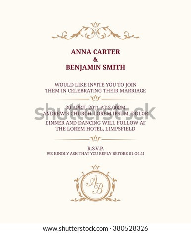 Invitation Card With Monogram. Wedding Invitation, Save The Date