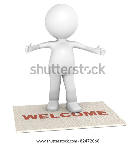 Invitation. 3D little human character standing on a doormat