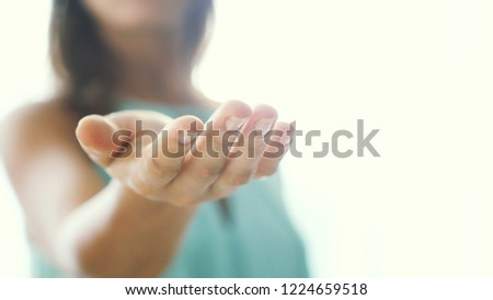 Inviting invitation Gesture by young woman #1224659518