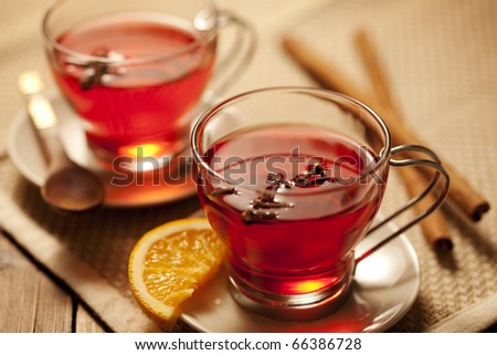 inviting warm spicy drink with ingredients