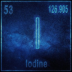 Iodine chemical element, Sign with atomic number and atomic weight, Periodic Table Element