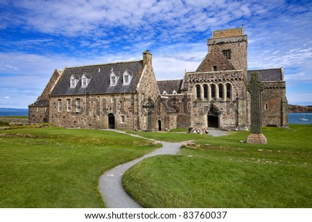 Iona Abbey on the Isle of Iona in the Inner Hebrides on the West Coast of Scotland. Founded by Columba in 563AD this is one of the most important religious and historic sites in Scotland.