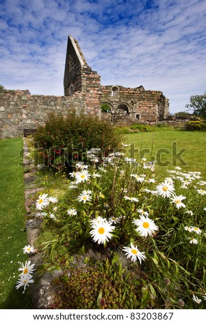 Iona Nunnery ruins on the Isle of Iona in the Inner Hebrides on the West Coast of Scotland. This Augustinian nunnery was founded around 1200.