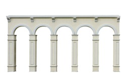 Ionic colonnade with five arch isolated on white background this has clipping path.