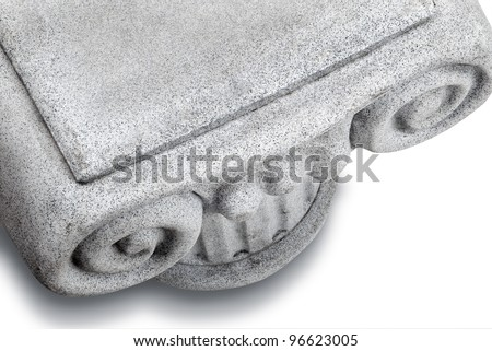 Ionic column, view from above, on white with shadow and clipping path