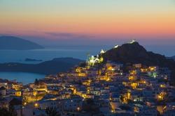 Ios Hora town during sunset, Ios island, Cyclades, Aegean, Greece