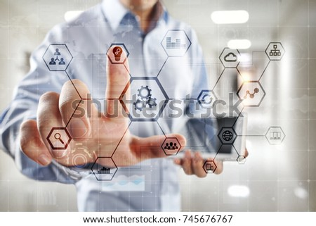 IOT and Automation concept as an innovation, improving productivity, reliability and repeatability in technology and business processes. #745676767