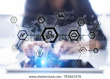 IOT, Automation, industry 4.0. Information technology in manufacturing concept. Smart factory.