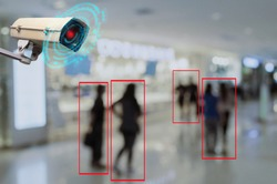 IOT CCTV, security indoor camera motion detection system operating with people shopping at shopping mall, cctv solution management system, surveillance security, safety intelligent technology concept