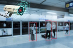 IOT CCTV, security indoor camera motion detection system operating with people waiting subway at train station, cctv solution management, surveillance security, safety intelligent technology concept