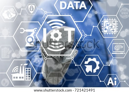 IOT Industries Innovative Connectivity Technology 4.0 concept. Smart Factory  Engineering Connected. Worker man presses iot gear wireless connection signal button on a virtual screen.