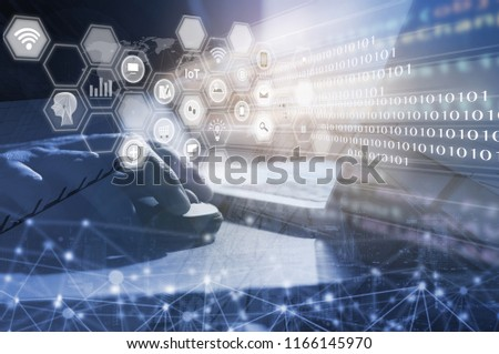 IoT Internet of Things concept. Web or mobile app design, business and modern technology. Double exposure f man hand working on laptop computer and the city, VR icons interface, omnichannel marketing #1166145970