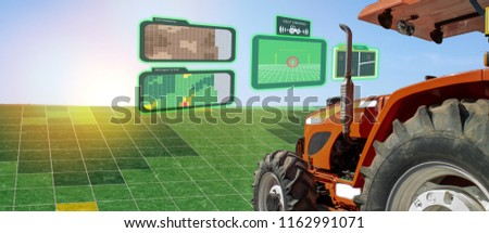 iot smart industry robot 4.0 agriculture concept,industrial agronomist,farmer using autonomous tractor with self driving technology , augmented mixed virtual reality to collect, access, analyze soil