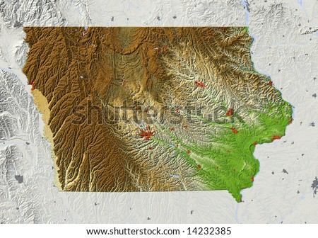 Iowa Shaded Relief Map With Major Urban Areas