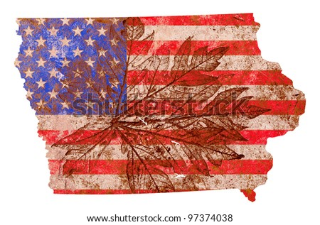 Iowa state of the United States of America in grunge flag pattern isolated on white background