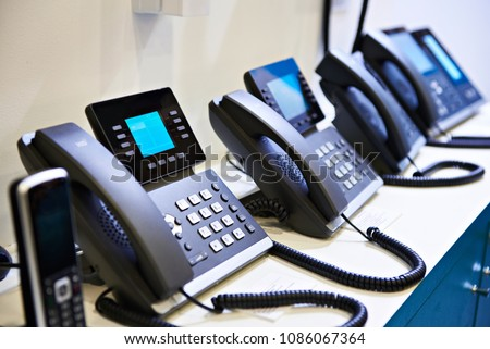 IP phones for office on the store shelves Zdjęcia stock ©