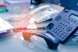 IP Telephony or IP Phone with IOT, internet of things conceptual sign, internet era, internet in every day lifes