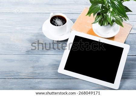 Ipad, tablet, cafe.