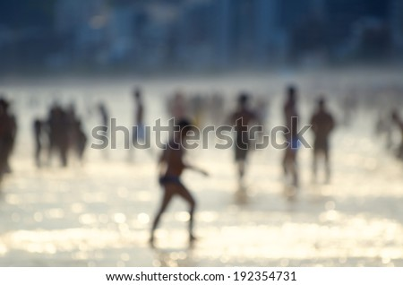 Ipanema Beach Rio de Janeiro Brazil sunset shore scene defocus abstract #192354731