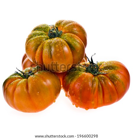 ipe tomatoes varieties raf with water drops  isolated on white background Zdjęcia stock ©